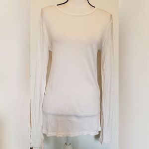 J Crew Tissue T Solid White Long Sleeves Simple